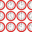 Stock Vector: Red clocks isolated