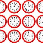 horloges rouges isolés — Vecteur
