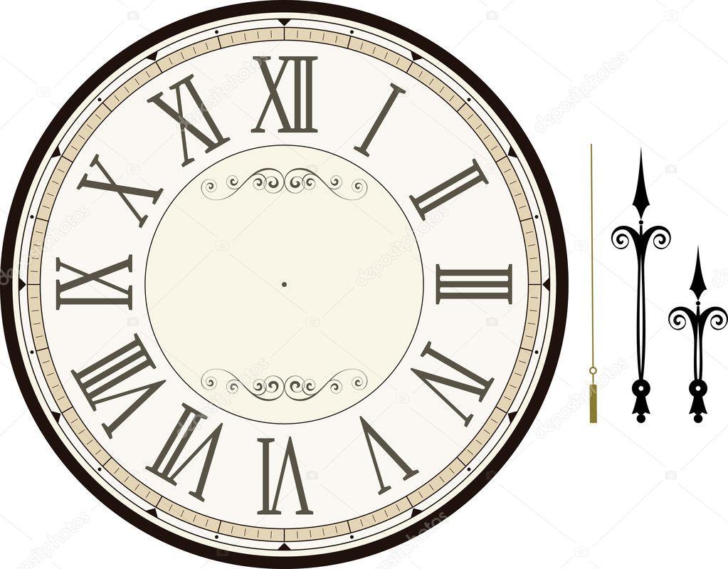 Vintage clock face template — Stock Vector © hayaship #28131425