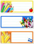 Школа ноутбука метки — Cтоковый вектор