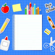School supplies stickers background — Stock Vector