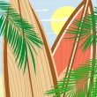 Stock Vector: Wooden surfboards and palms background