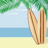 Surfing beach pozadí — Stock vektor