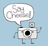 Camera cartoon say cheese text ballon — Stock Vector