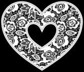 Lace wedding heart applique — Stock Vector
