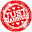 Stock Vector: Just married grunge stamp vector