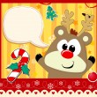 Stock Vector: Baby rudolph christmas card