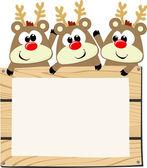 Baby reindeers with wooden sign board — Stock Vector