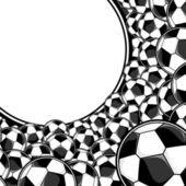 Soccer balls border background — Stock Vector