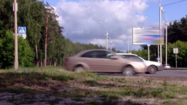 Crossroads on Highway in wood — Stock Video