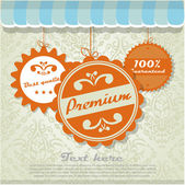 Sign on the store with vintage labels — Stock Vector