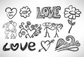 Set of sketches on the theme of love — Stock Vector