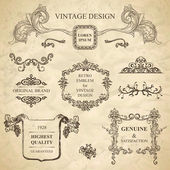 Set of emblems for vintage design — Stock Vector