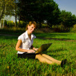 Businesswoman uses a laptop in autumn park sitting on the grass — Stock Photo