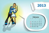 Calendar month of February. Young couple dancing waltz — Stockvector