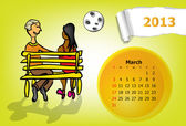 Calendar month of March. Young couple sitting on a bench at night — Stock Vector