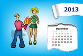 Calendar month of December. Young couple gives gifts — Stock Vector