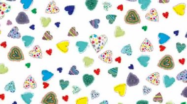 Seamless loop from a background with multicolored hearts — Stock Video
