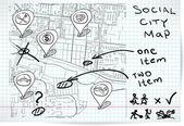 Social map of sketch — Stock Vector