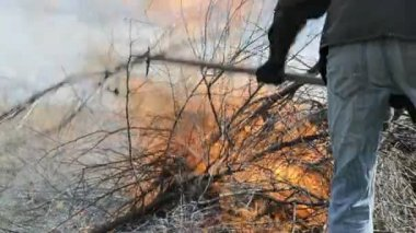 Burning twigs and debris on fire — Stock Video
