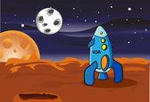 American space rocket on Mars — Stock Vector