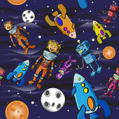 Seamless pattern cartoon children astronauts — Stock Vector