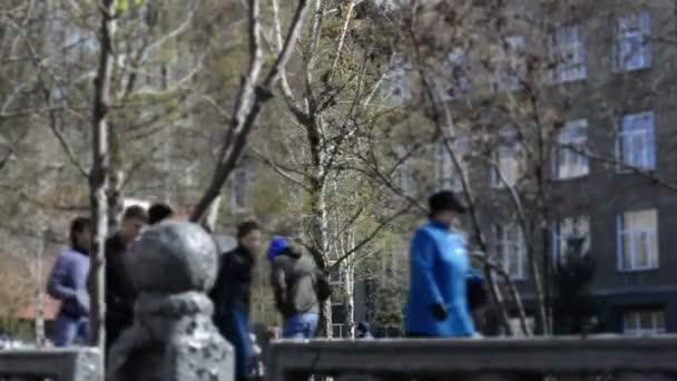 Foule de laps de temps des promenades dans le parc après le défilé — Vidéo