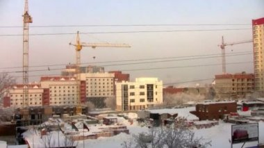 Construction site in the frost — Stok video