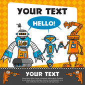 Vintage greeting card with cartoon robots — Stock Vector