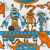 Seamless pattern cartoon robots on the assembly line — Stock Vector