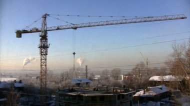 Time-lapse construction during the winter in Novosibirsk — Stock Video