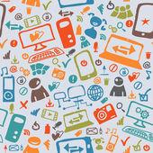 Seamless mönster av ikonerna på internet — Stockvektor