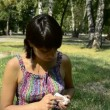 Young pregnant woman takes the pill — Stock Video