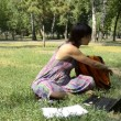 A young pregnant woman sitting on grass with laptop — Stock Video