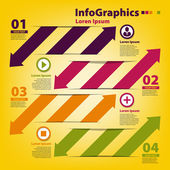 Design template for infographics with horizontal cutout lines — Stock Vector