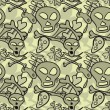 Seamless pattern of comic skulls and bones — стоковый вектор #23074272