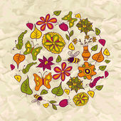 Seamless pattern of circle made of flowers and insects — Stock Vector