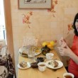 Two pregnant women drink tea with cake — Stock Video