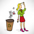 Businesswoman throws documents in the trash — Stock Vector