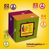 Set of elements for infographics in the form of a cube — Vector de stock