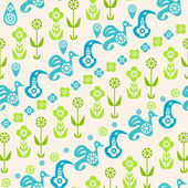 Abstract seamless pattern of birds and flowers — Stock Vector