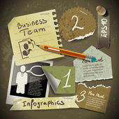 Set of infographics from torn pieces of paper in vintage style s — Stock Vector