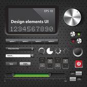 Design elements Dark User Interface Controls — Stock Vector