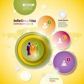 Abstrakt business design med papper cirklar för infographics — Stockvektor