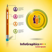 Template for business infographic on the basis of a pencil — Stock Vector