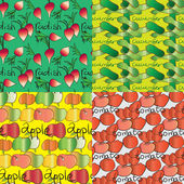 Set of four seamless patterns with vegetables and fruits — Stock Vector