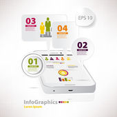 Modern vector elements for infographics with white smartphone — Stock Vector
