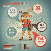 Template for infographic for travel in vintage style — Stock Vector