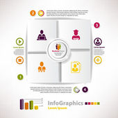 Modern infographic template for business design with cards and i — Stock Vector