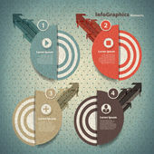 Four round element with arrows for infographic in vintage style — Stock Vector